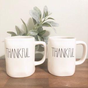 RAE DUNN   Set Of 2 NEW 2019 Fall THANKFUL Mugs